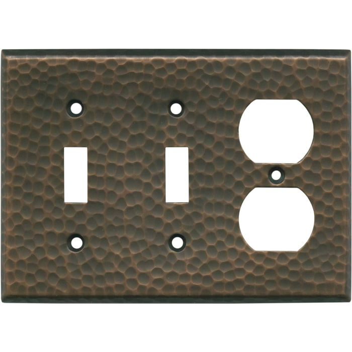 Hammered Antique Copper - 2 Toggle/Outlet Combo Wallplates