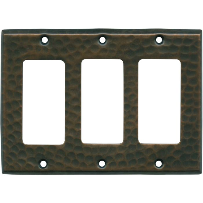 Hammered Antique Copper Triple 3 Rocker GFCI Decora Light Switch Covers