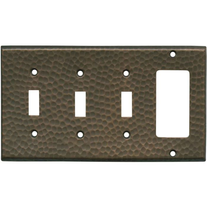 Hammered Antique Copper Triple 3 Toggle / 1 Rocker GFCI Switch Covers