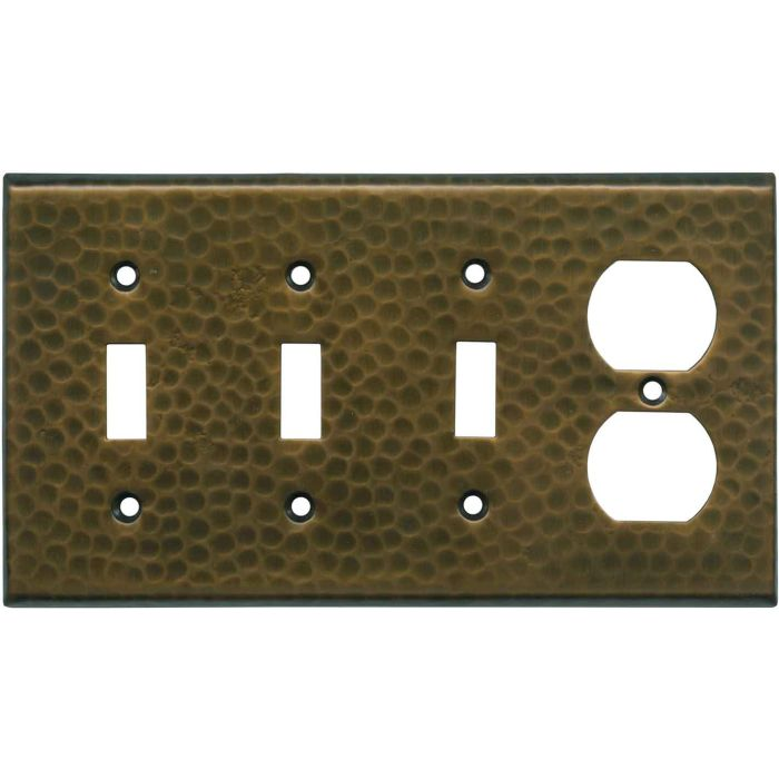 Hammered Antique Copper - 3 Toggle/Outlet Combo Wallplates