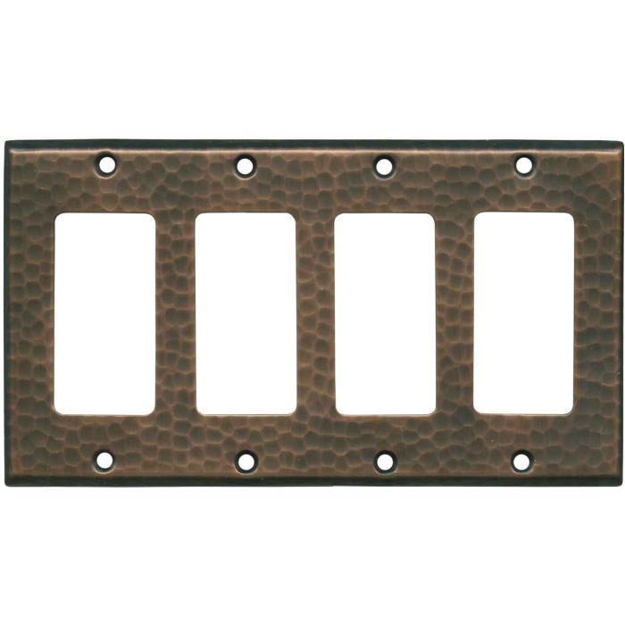 Hammered Antique Copper - 4 Rocker GFCI Decora Switch Plates
