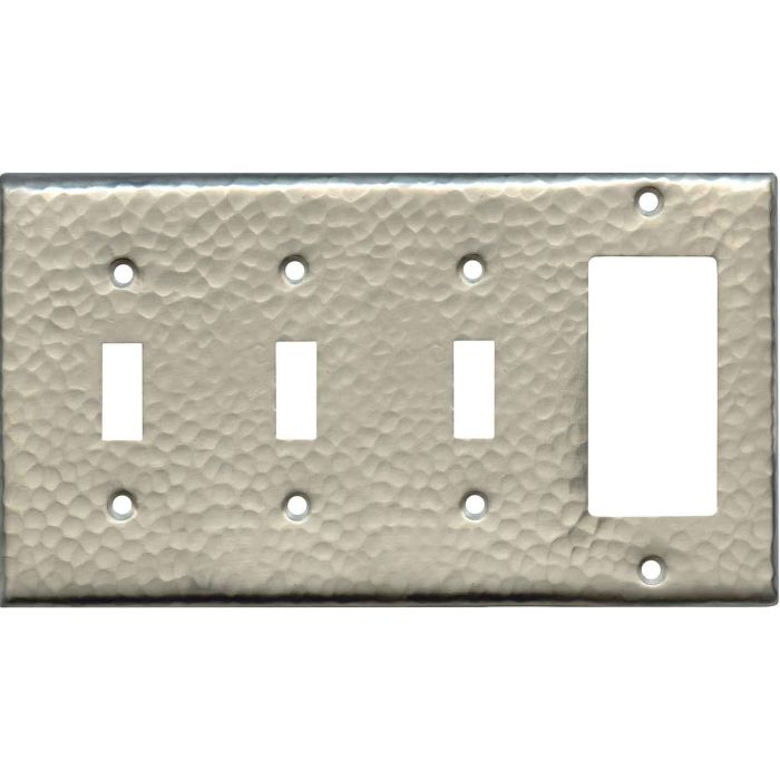 Hammered Antique Pewter Triple 3 Toggle / 1 Rocker GFCI Switch Covers