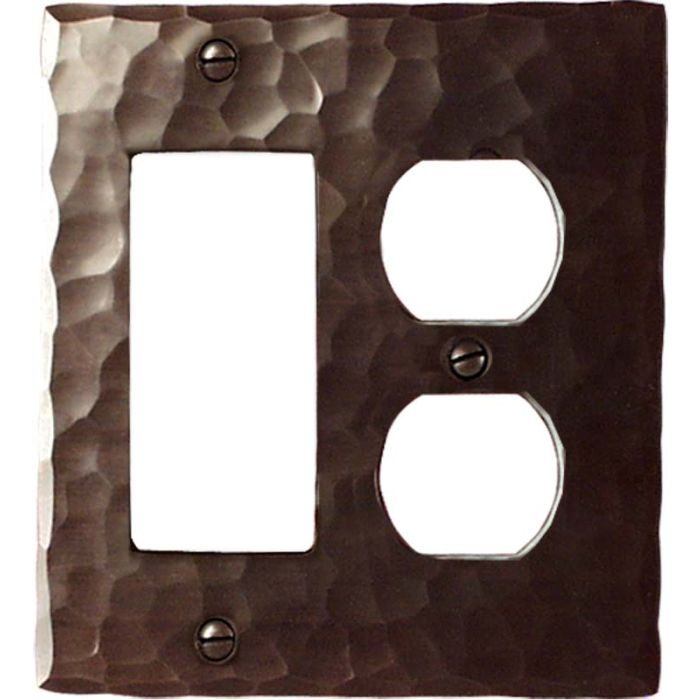 Hammered Combination GFCI Rocker / Duplex Outlet Wall Plates