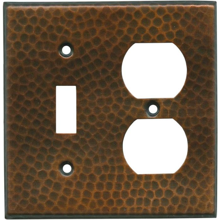 Hammered in Antique Copper Combination 1 Toggle / Outlet Cover Plates