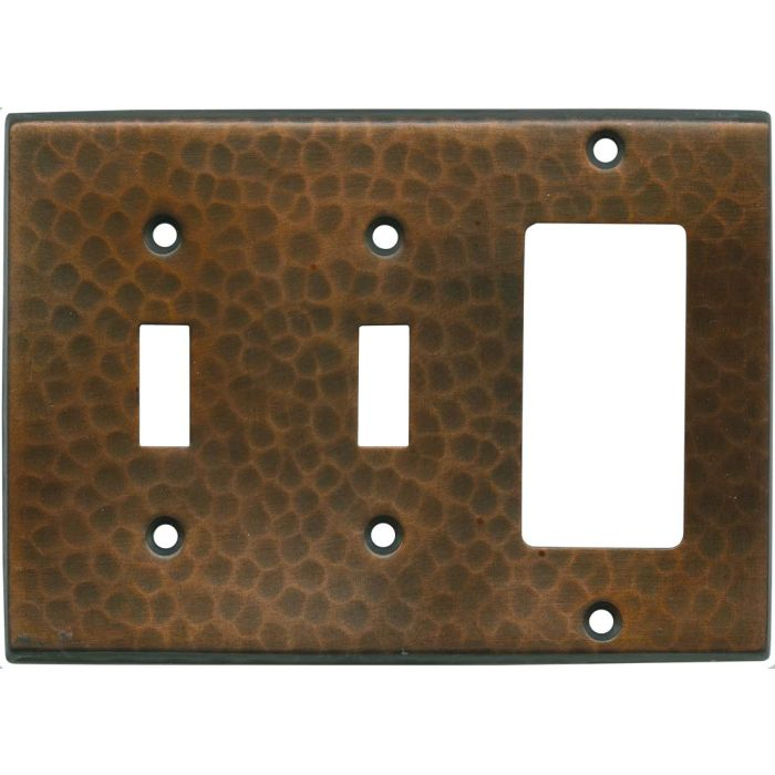 Hammered in Antique Copper Double 2 Toggle / 1 GFCI Rocker Combo Switchplates