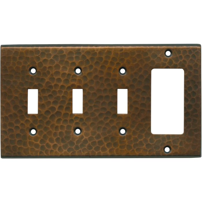Hammered in Antique Copper Triple 3 Toggle / 1 Rocker GFCI Switch Covers