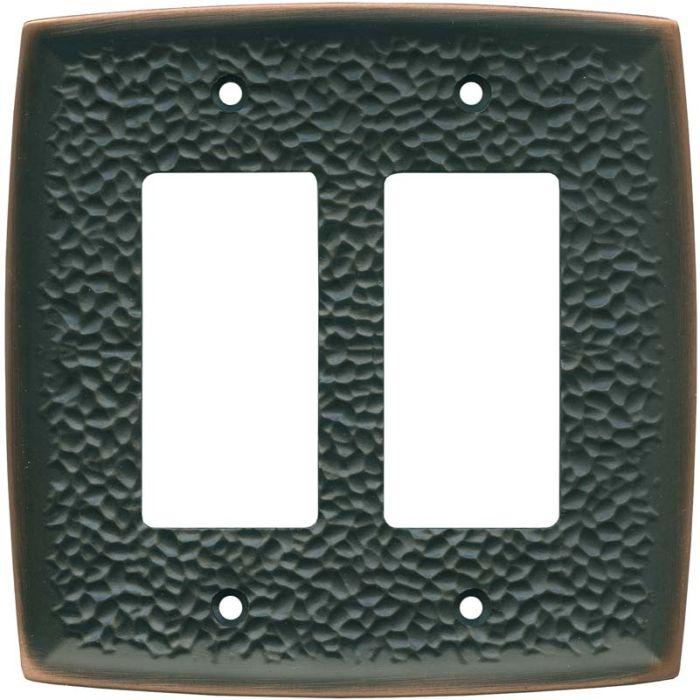 Brainerd Hammered Oil Rubbed Bronze 2 Gang Double GFCI Rocker Decorator Wallplates