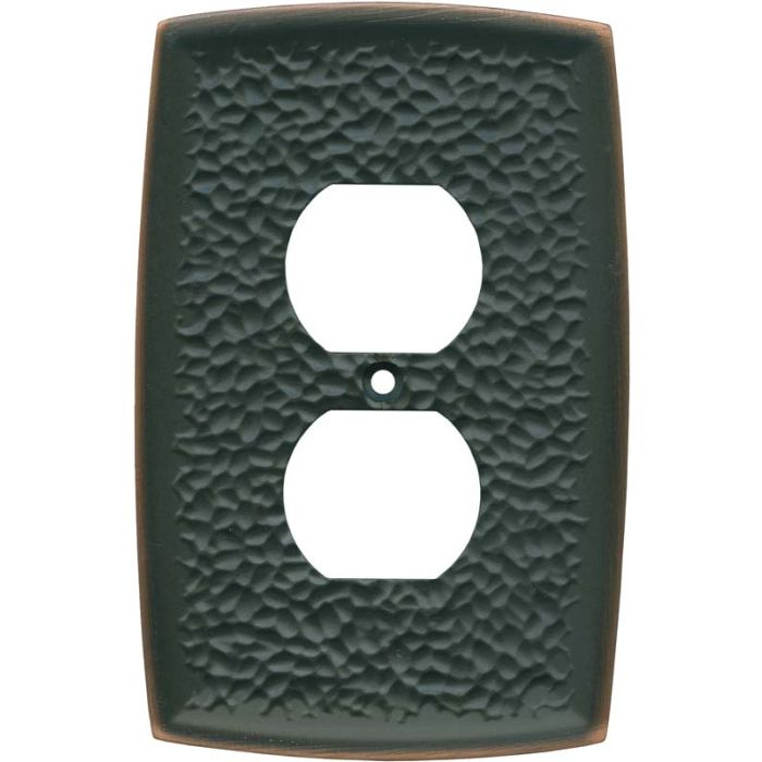 Brainerd Hammered Oil Rubbed Bronze 1 Gang Duplex Outlet Cover Wall Plate