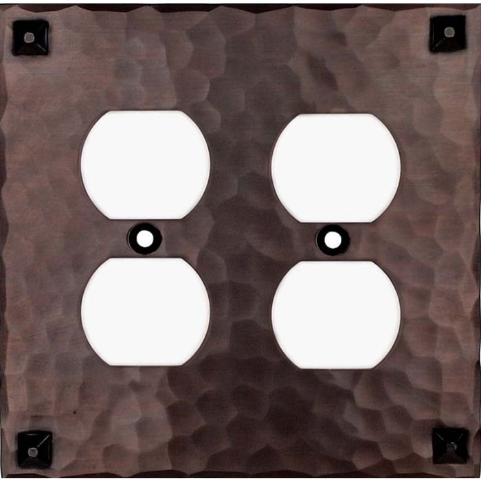 Hammered with Nails 2 Gang Duplex Outlet Wall Plate Cover