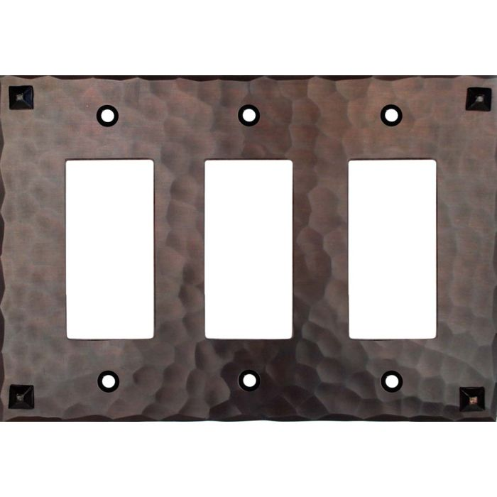 Hammered with Nails Triple 3 Rocker GFCI Decora Light Switch Covers