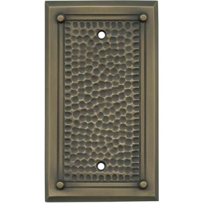 Hammered with Nails Antique Brass - Blank Wall Plates