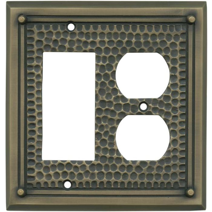 Hammered with Nails Antique Brass Combination GFCI Rocker / Duplex Outlet Wall Plates