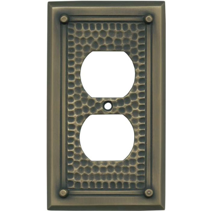 Hammered with Nails Antique Brass 1 Gang Duplex Outlet Cover Wall Plate
