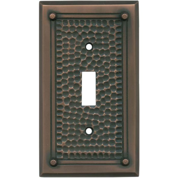 Hammered with Nails Antique Copper - 1 Toggle Light Switch Plates