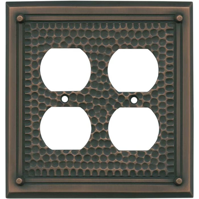 Hammered with Nails Antique Copper 2 Gang Duplex Outlet Wall Plate Cover