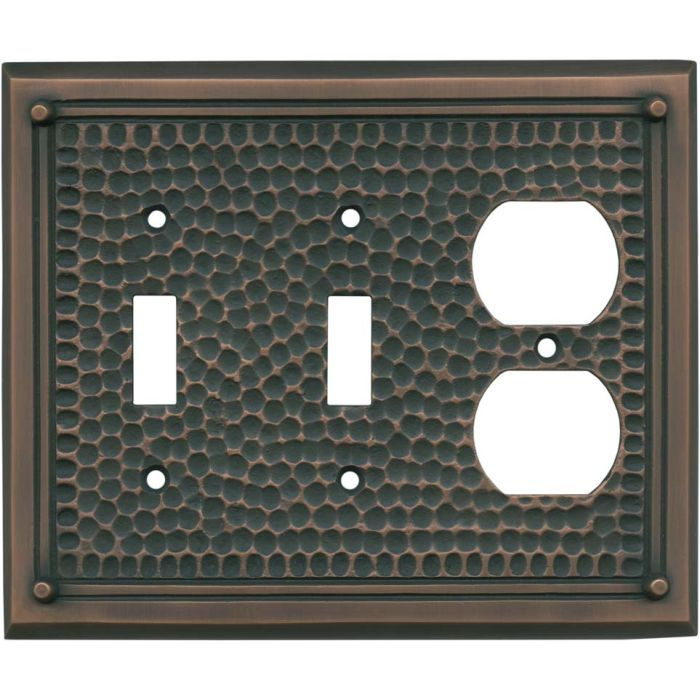 Hammered with Nails Antique Copper - 2 Toggle/Outlet Combo Wallplates