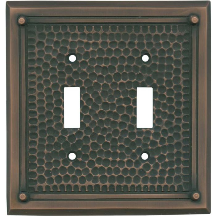 Hammered with Nails Antique Copper Double 2 Toggle Switch Plate Covers