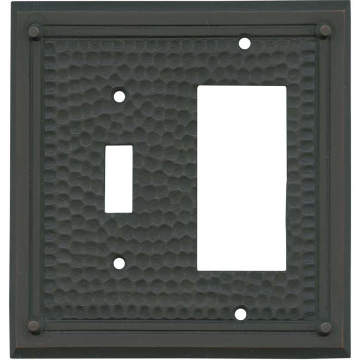 Hammered with Nails Oil Rubbed Bronze Combination 1 Toggle / Rocker GFCI Switch Covers