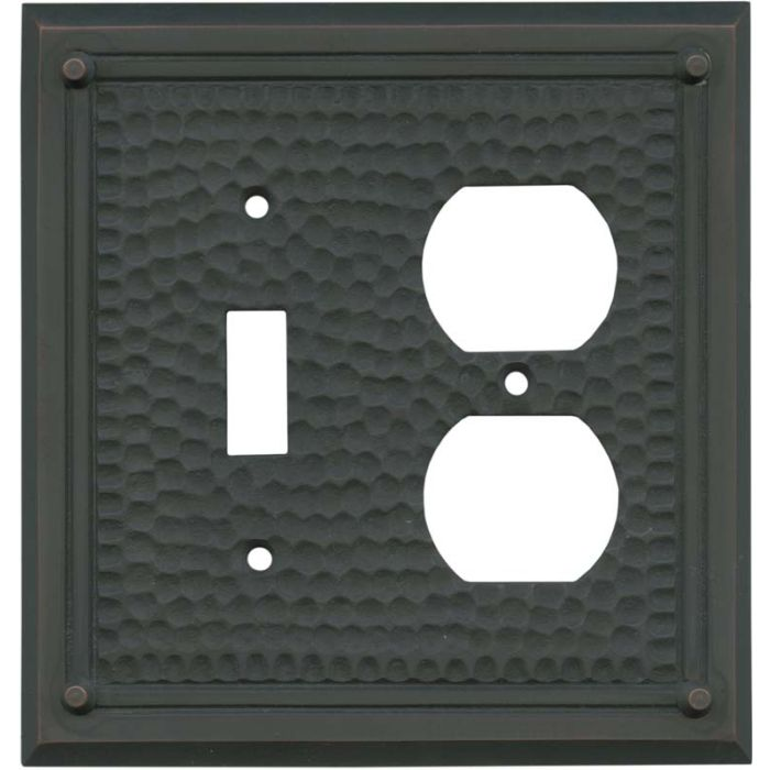 Hammered with Nails Oil Rubbed Bronze - Combination 1 Toggle/Outlet Cover Plates