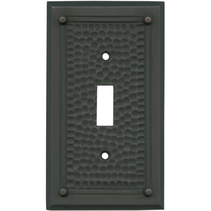 Hammered with Nails Oil Rubbed Bronze - Single Toggle Switch Plates