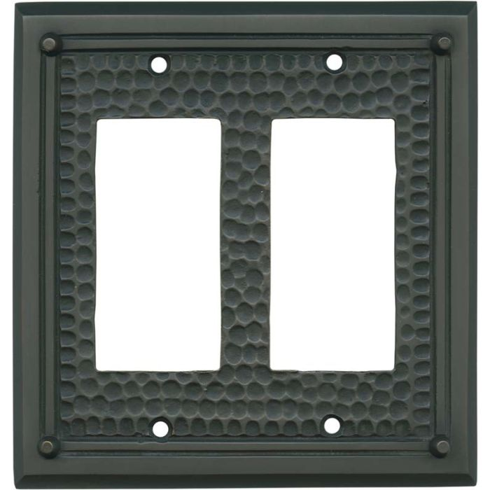 Hammered with Nails Oil Rubbed Bronze 2 Gang Double GFCI Rocker Decorator Wallplates