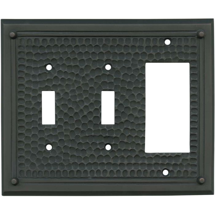 Hammered with Nails Oil Rubbed Bronze - 2 Toggle/1 GFCI Rocker Switchplates