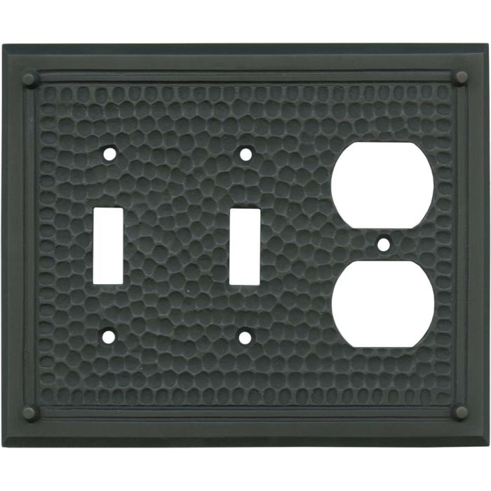 Hammered with Nails Oil Rubbed Bronze - 2 Toggle/Outlet Combo Wallplates