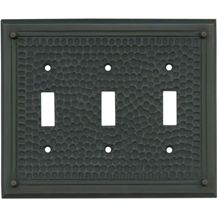 Hammered with Nails Oil Rubbed Bronze - 3 Toggle Light Switch Covers