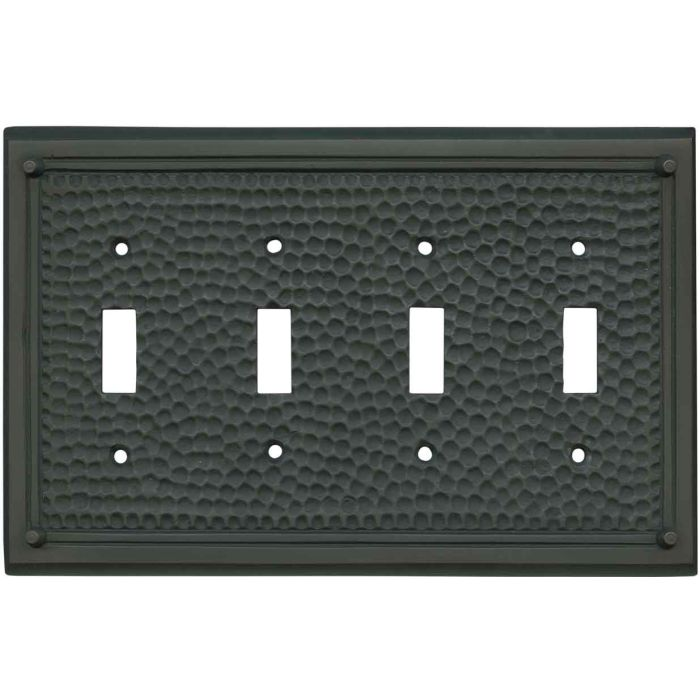 Hammered with Nails Oil Rubbed Bronze Quad 4 Toggle Light Switch Covers