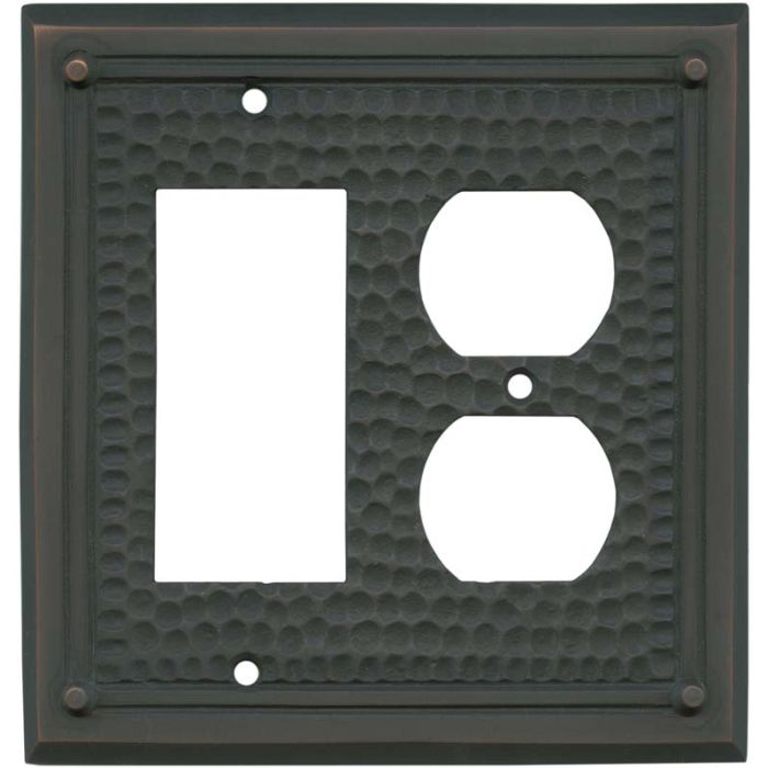 Hammered with Nails Oil Rubbed Bronze - GFCI Rocker/Duplex Outlet Wall Plates
