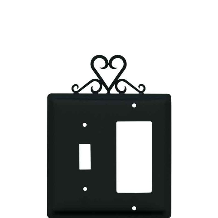 Heart Combination 1 Toggle / Rocker GFCI Switch Covers