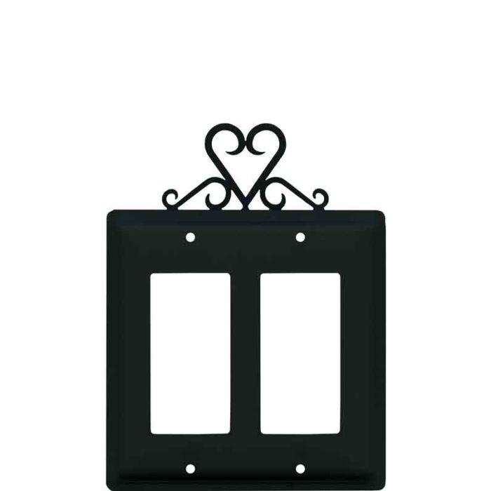 Heart 2 Gang Double GFCI Rocker Decorator Wallplates
