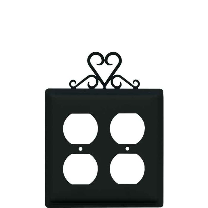 Heart 2 Gang Duplex Outlet Wall Plate Cover