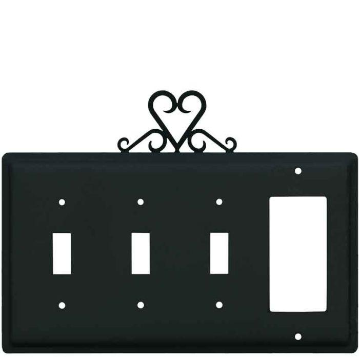 Heart Triple 3 Toggle / 1 Rocker GFCI Switch Covers