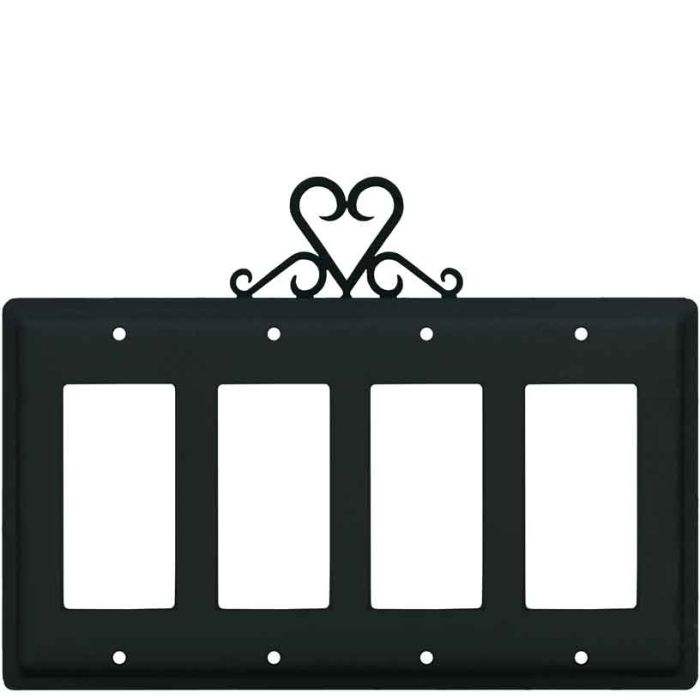 Heart 4 Rocker GFCI Decorator Switch Plates