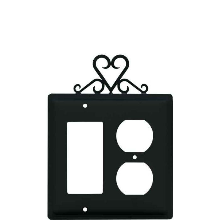 Heart Combination GFCI Rocker / Duplex Outlet Wall Plates