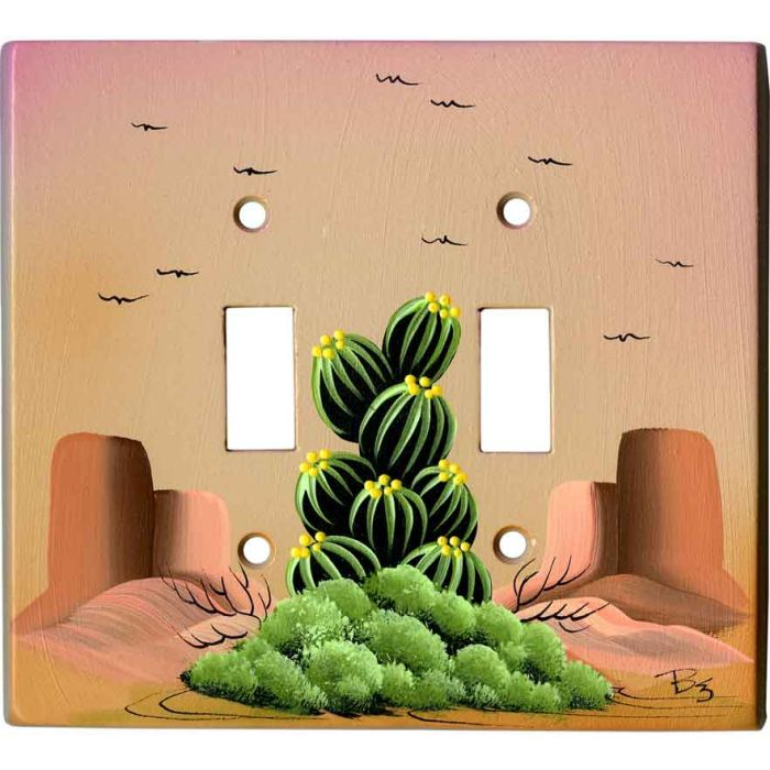 Hedge Hog Cactus on Sand Double 2 Toggle Switch Plate Covers