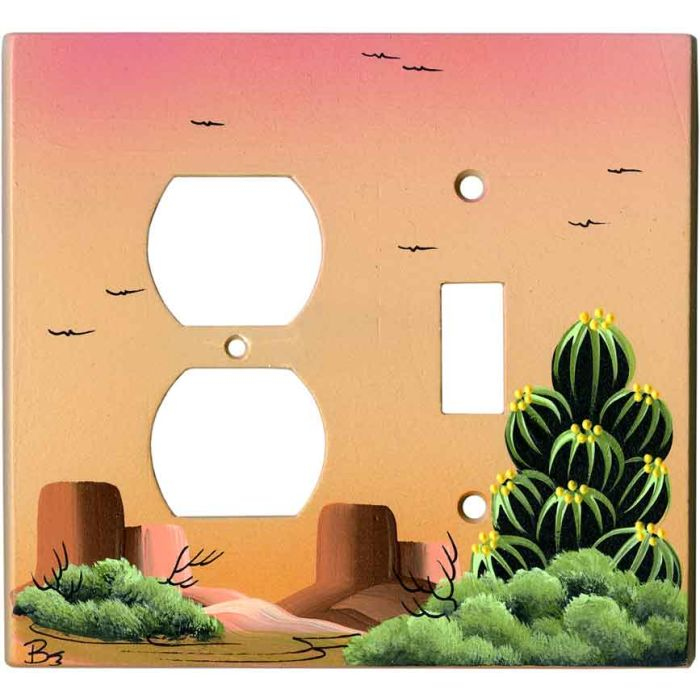 Hedge Hog Cactus on Sand 1-Duplex / 1-Toggle - Combination Wall Plates