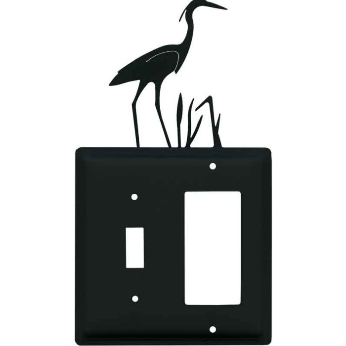 Heron 1 Toggle Wall Switch Plate - GFI Rocker Cover Combo