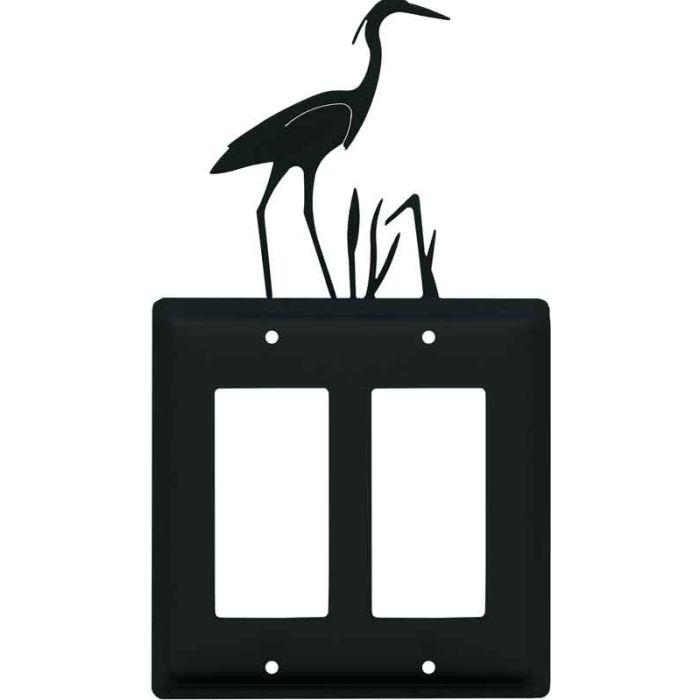 Heron 2 Gang Double GFCI Rocker Decorator Wallplates