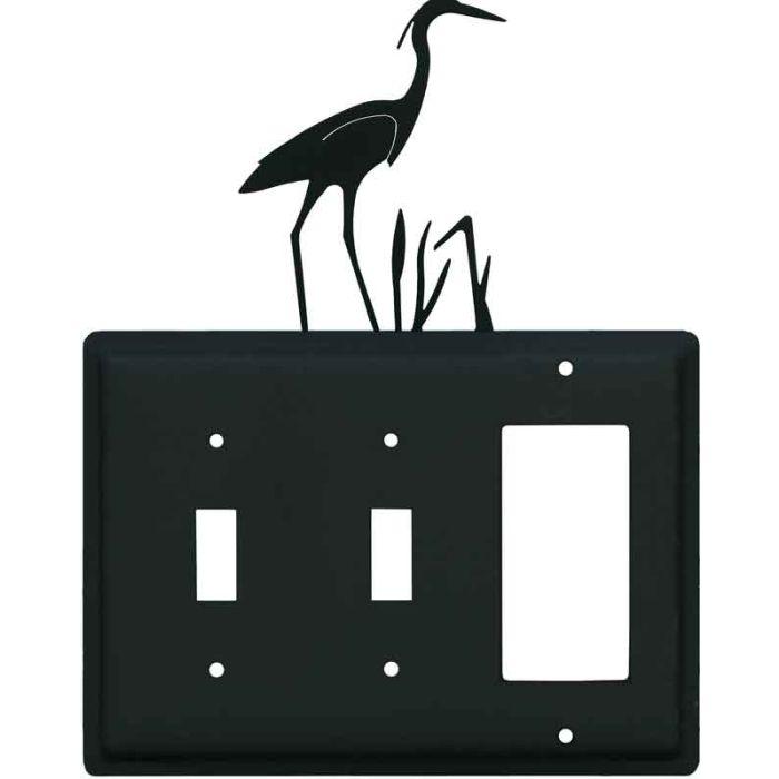 Heron Double 2 Toggle / 1 GFCI Rocker Combo Switchplates