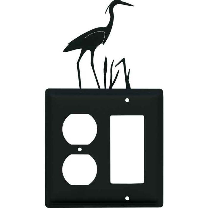 Heron 1-Duplex / 1 Decorator Rocker - Combination Switch Cover