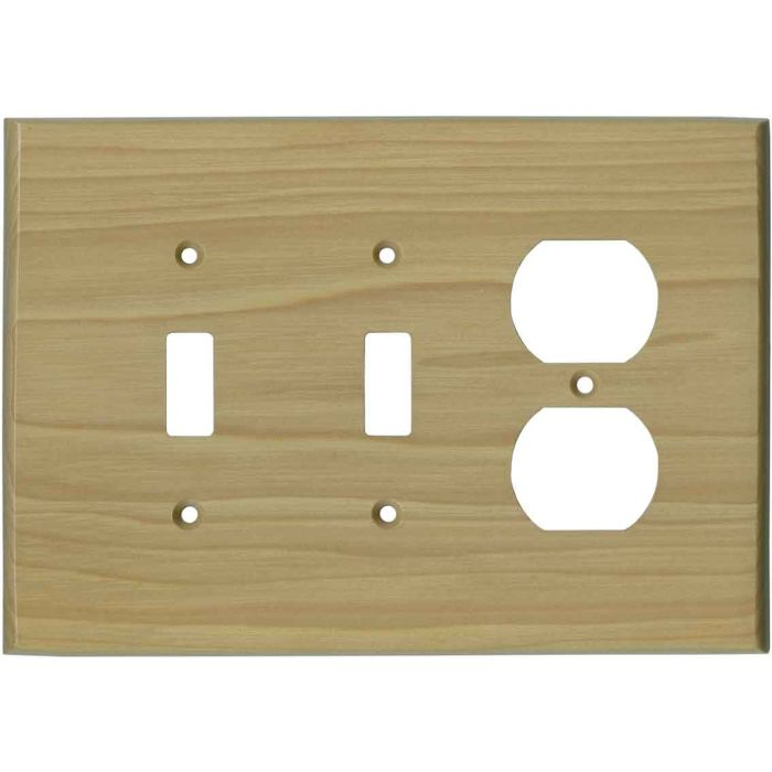Hickory Satin Lacquer - 2 Toggle/Outlet Combo Wallplates
