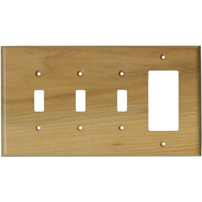 Hickory Satin Lacquer - 3 Toggle/1 Rocker GFCI Switch Covers