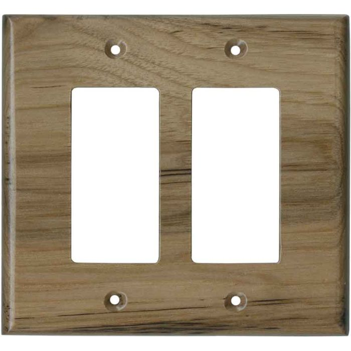 Hickory Unfinished - 2 Gang Double GFCI Rocker Wallplates