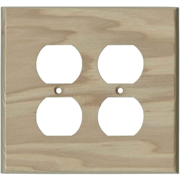 Hickory Unfinished - 2 Gang Electrical Outlet Covers