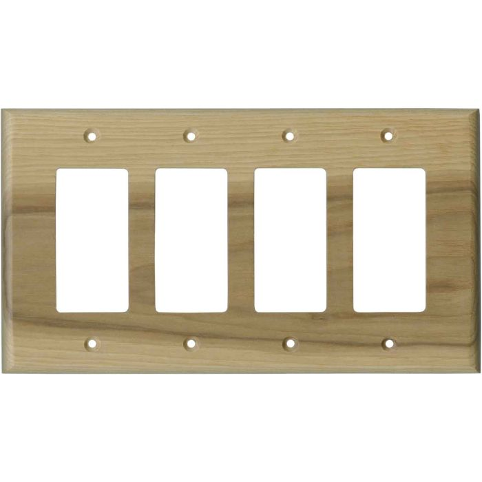 Hickory Unfinished 4 Rocker GFCI Decorator Switch Plates