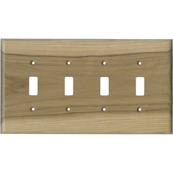 Hickory Unfinished - 4 Toggle Light Switch Covers