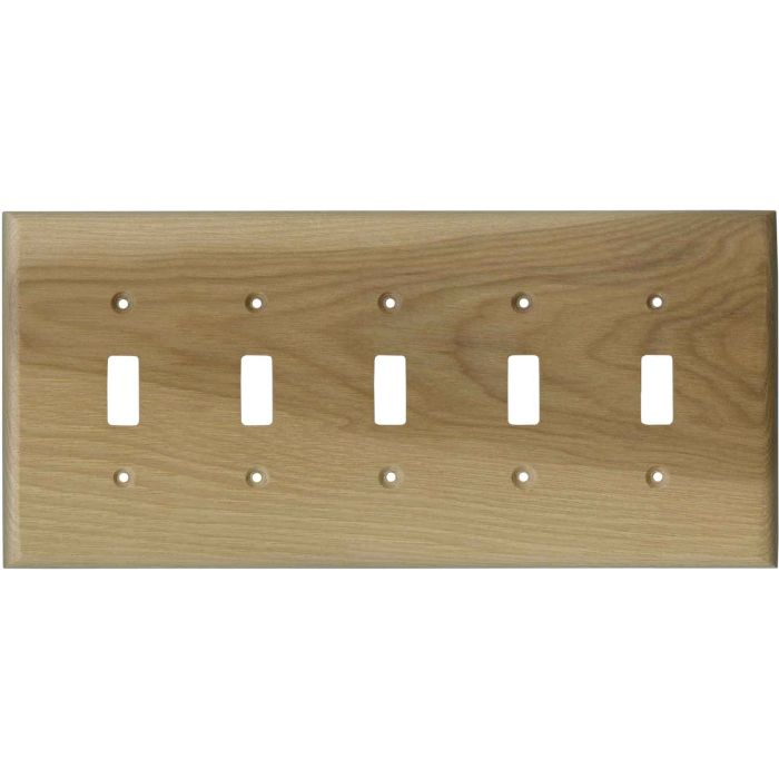 Hickory Unfinished - 5 Toggle Wall Switch Plates