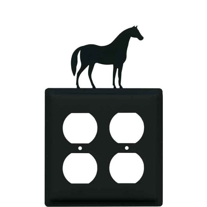 Horse 2 Gang Duplex Outlet Wall Plate Cover